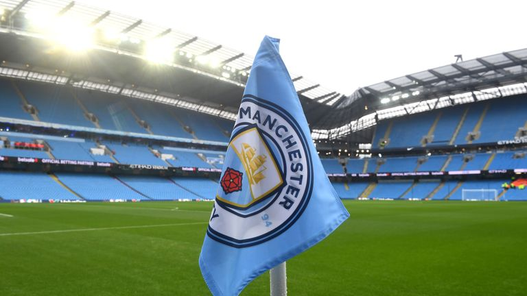 General view inside the stadium prior to the Premier League match between Manchester City and Arsenal at the Etihad Stadium