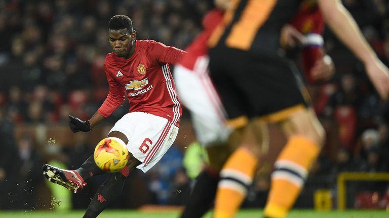 Paul Pogba strikes a free-kick during the EFL Cup semi-final first leg