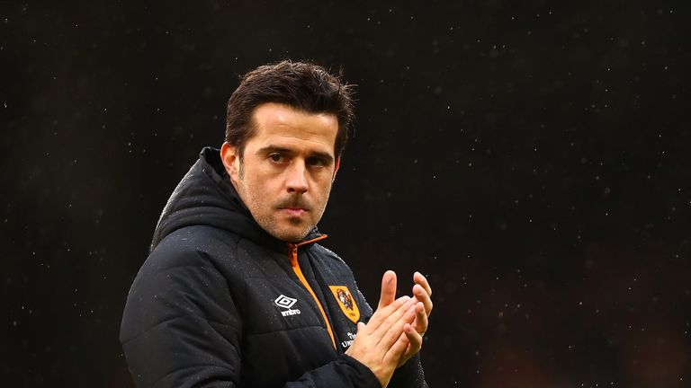 LONDON, ENGLAND - JANUARY 29:  Marco Silva, Manager of Hull City shows appreciation to the fans after The Emirates FA Cup Fourth Round match between Fulham
