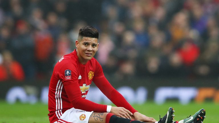 Marcos Rojo only lasted 19 minutes at Old Trafford on Saturday