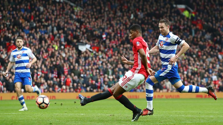 Marcus Rashford scores Manchester United's third goal against Reading