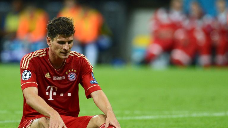 Bayern Munich's German forward Mario Gomez reacts during the UEFA Champions League final football match between FC Bayern Muenchen and Chelsea FC on May 19