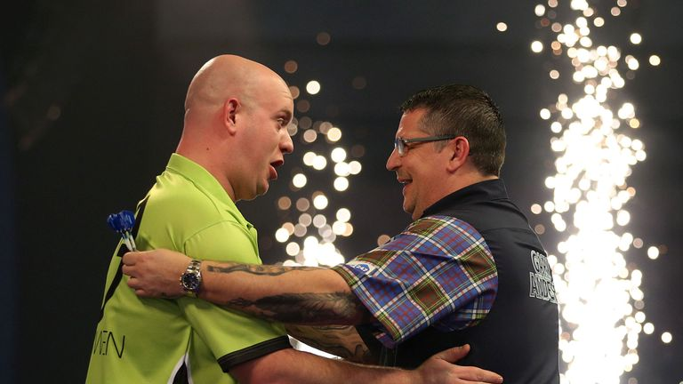 Van Gerwen celebrates winning a second world title against Anderson