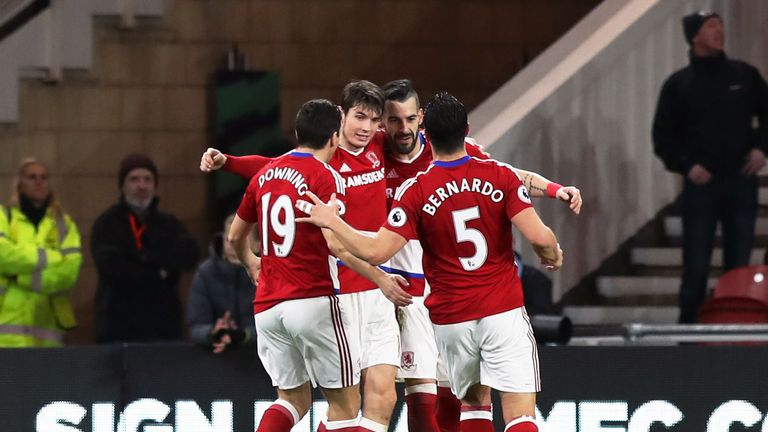 Middlesbrough's Alvaro Negredo (second right) celebrates scoring his side's second goal