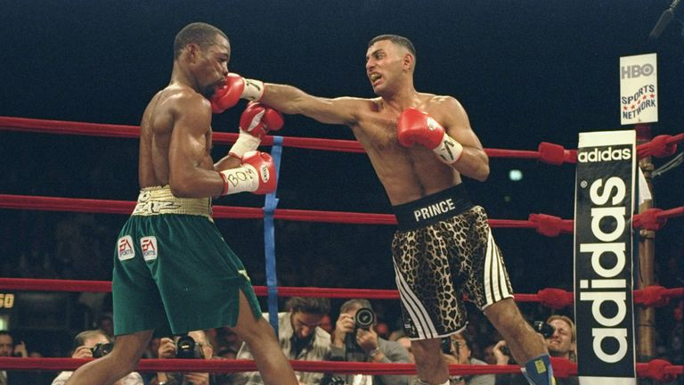 Prince Naseem Hamed lands a punch to Kevin Kelley during a fight at Madison Square Garden in New York City, New York.
