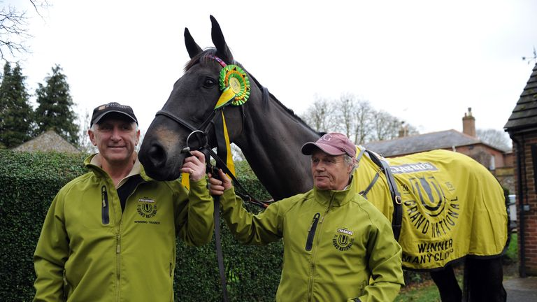 Oliver Sherwood with Many Clouds a day after his unforgettable Aintree triumph