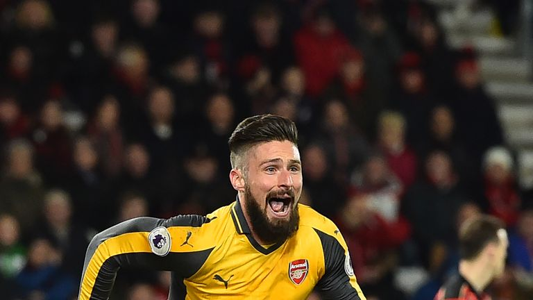 Arsenal's French striker Olivier Giroud celebrates after scoring their third goal during the English Premier League football match between Bournemouth and