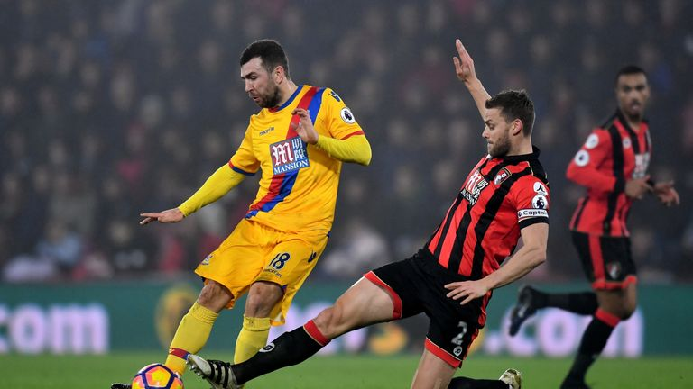 James McArthur of Crystal Palace is tackled by Simon Francis during Crystal Palace's win at the Vitality Stadium