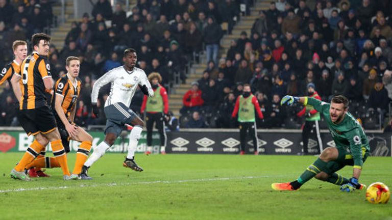 Paul Pogba pokes in Manchester United's equaliser to put them 3-1 up on aggregate