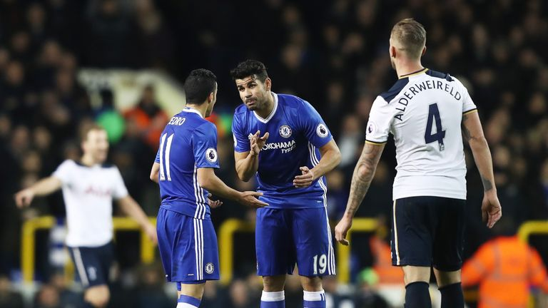 Pedro and Diego Costa get involved in a heated exchange during the first half