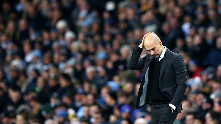 Pep Guardiola on the sidelines during the Premier League match between Manchester City and Tottenham