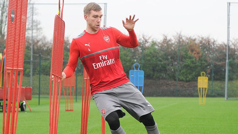 Per Mertesacker has returned to training with Arsenal and is nearing full fitness