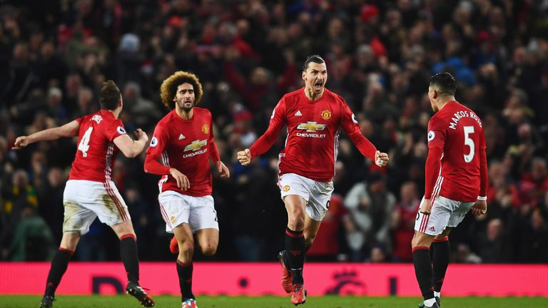 Zlatan Ibrahimovic celebrates his equaliser with team-mates