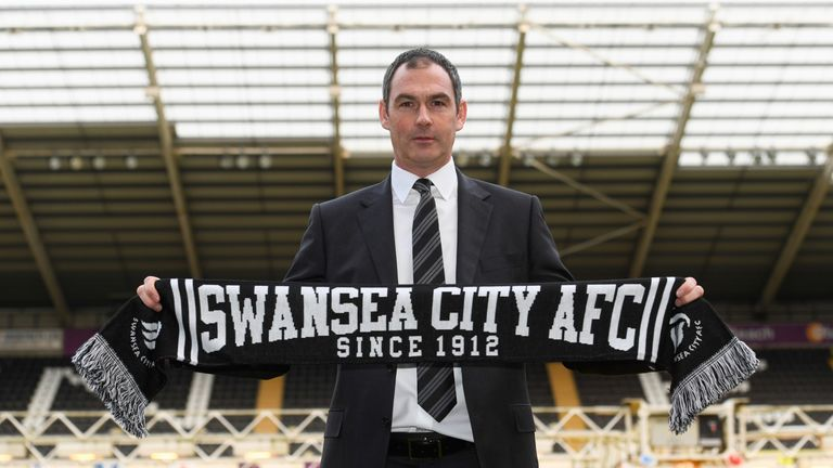 New Swansea City head coach Paul Clement faces the media at the Liberty Stadium