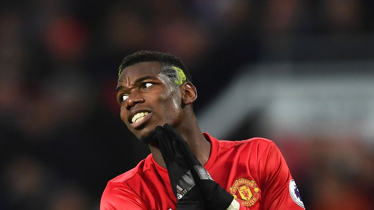 Paul Pogba reacts during the Premier League match against Liverpool