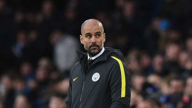 Pep Guardiola during the 4-0 defeat against Everton at Goodison Park