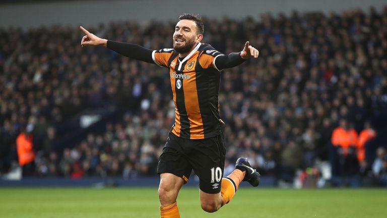 Robert Snodgrass celebrates after giving Hull City a 1-0 lead