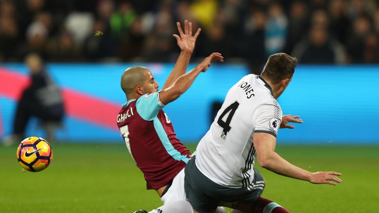 Sofiane Feghouli makes a challenge on Phil Jones resulting in his sending off