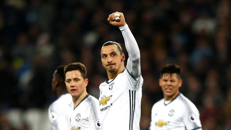 Zlatan Ibrahimovic celebrates after his goal gives Manchester United a 2-0 lead