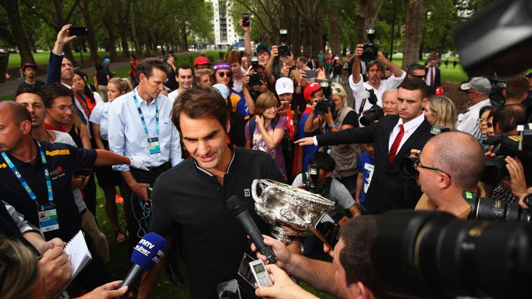 Federer speaks to the world's media the day after his triumph