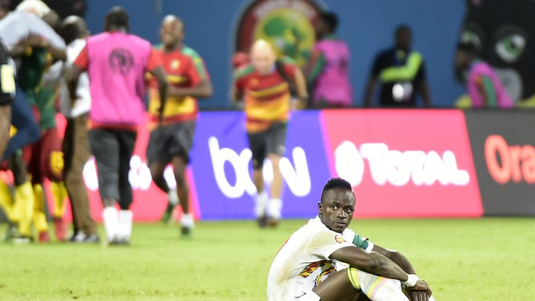 Senegal's forward Sadio Mane reacts after the penalty shootout at the end of the 2017 Africa Cup of Nations quarter-final football match between Senegal an