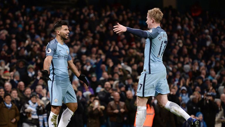 Sergio Aguero celebrates Manchester City's second with Kevin De Bruyne