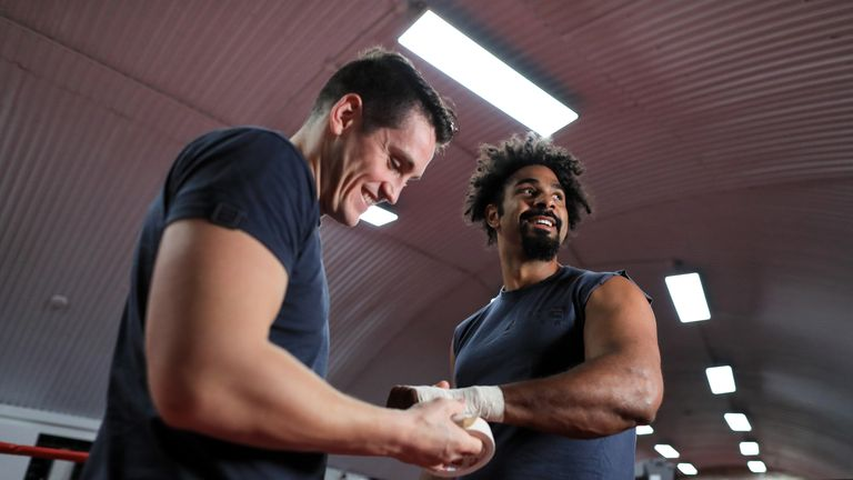 Boxer David Haye works out with trainer Shane McGuigan at his gym in Vauxhall