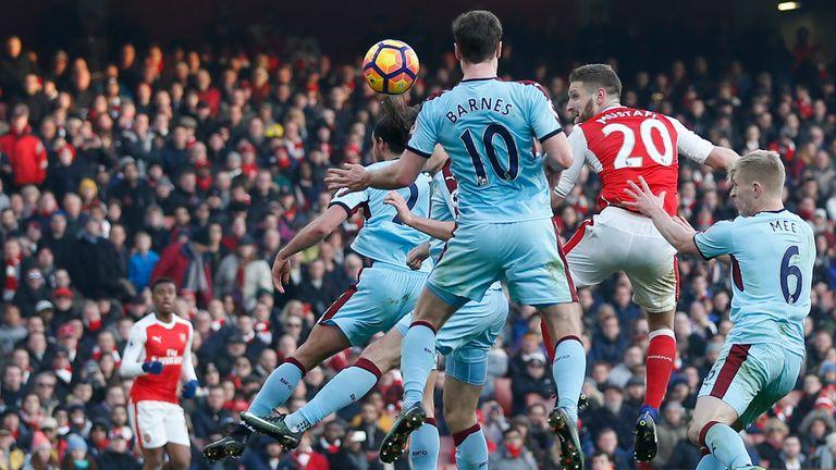 Mustafi headed his first Arsenal goal against Burnley