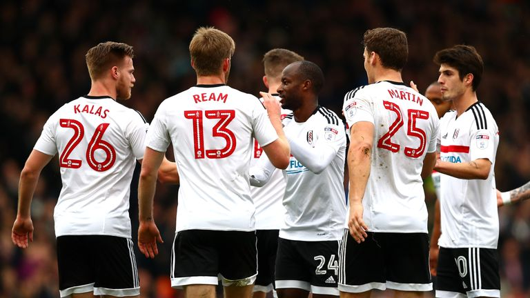 Sone Aluko of Fulham celebrates