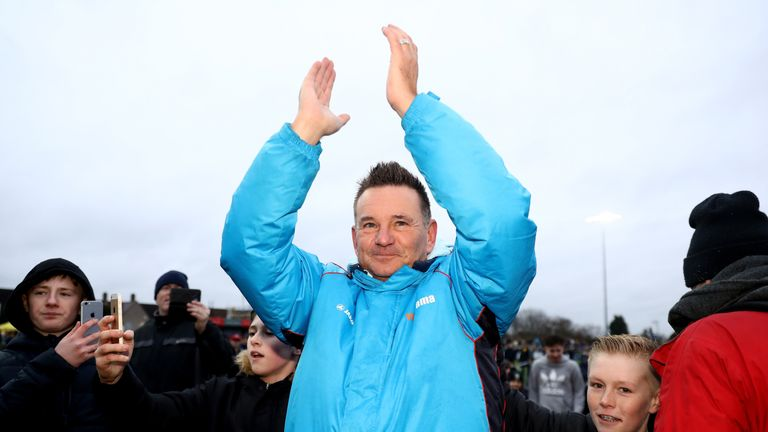 Sutton manager Paul Doswell celebrates