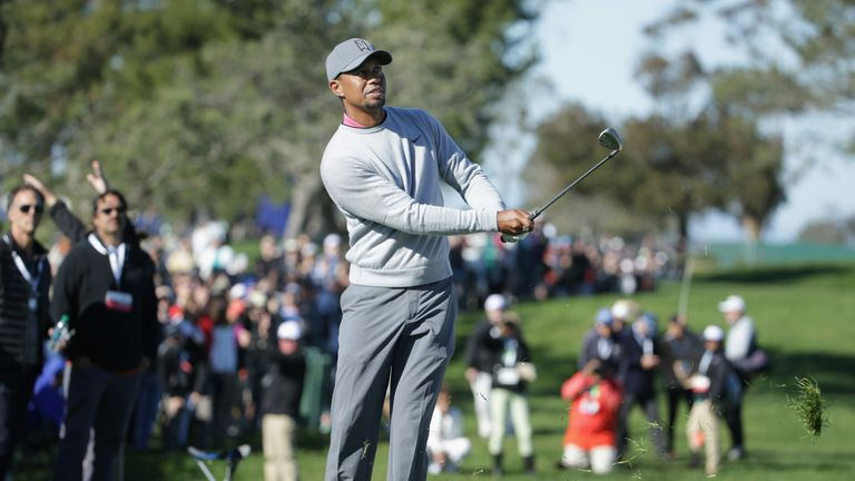 Woods was frequently forced to chop out of the rough due to his wayward long game