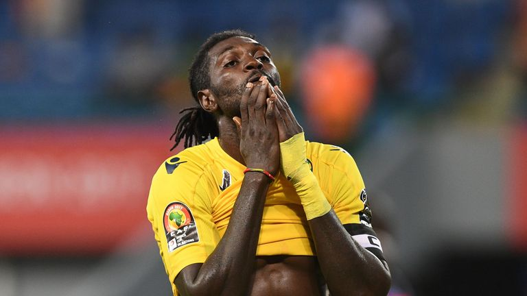 Togo's forward Emmanuel Adebayor reacts after missing a goal opportunity during the 2017 Africa Cup of Nations group C football match between Togo and DR C