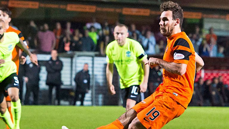Tony Andreu scores for Dundee United against Hibernian in December