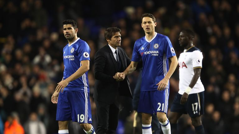 Antonio Conte, manager of Chelsea (centre) with Nemanja Matic (right) and Diego Costa (left)