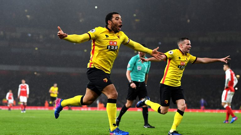 LONDON, ENGLAND - JANUARY 31:  Troy Deeney of Watford celebrates scoring his team's second goal during the Premier League match between Arsenal and Watford