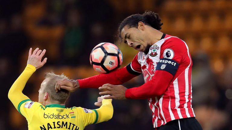 Norwich City's Steven Naismith (left) and Southampton's Virgil van Dijk battle for the ball in the air during the Emirates FA Cup, Third Round match at Car