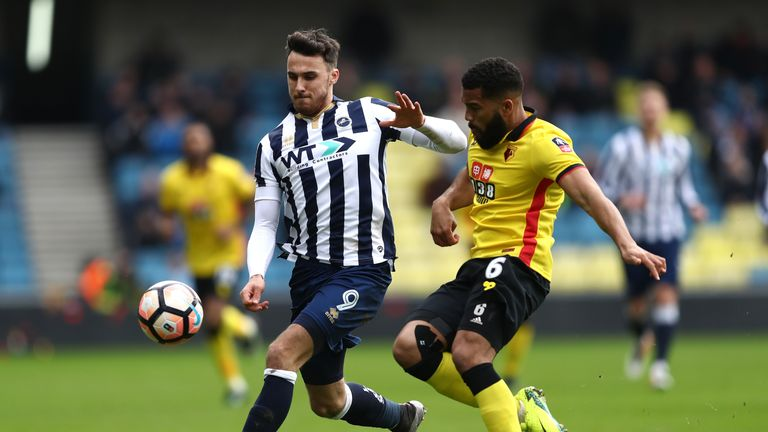 LONDON, ENGLAND - JANUARY 29: Lee Gregory of Millwall (L) and Adrian Mariappa of Watford (R) battle for possession during The Emirates FA Cup Fourth Round