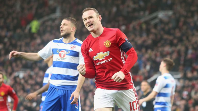 Rooney celebrates scoring his 249th United goal against Reading