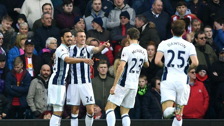 WEST BROMWICH, ENGLAND - JANUARY 21: Darren Fletcher of West Bromwich Albion (CL) celebrates scoring his sides first goal wit his West Bromwich Albion team