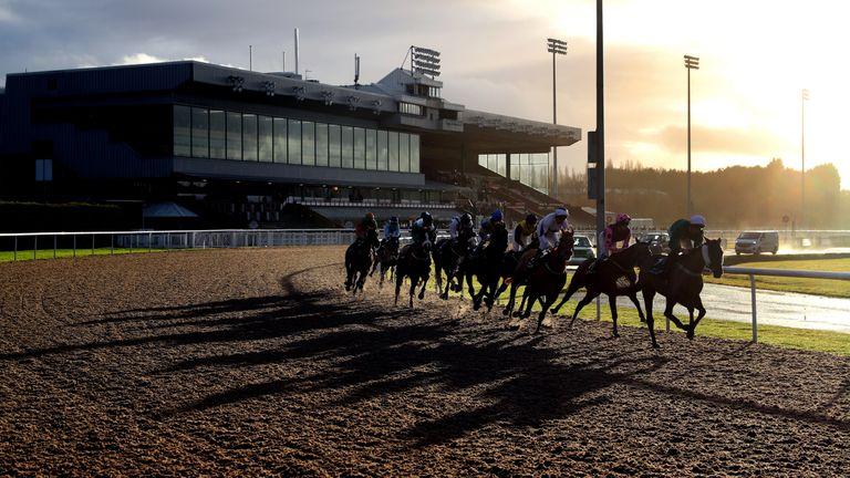 Limonata leads the field at Wolverhampton Racecourse.