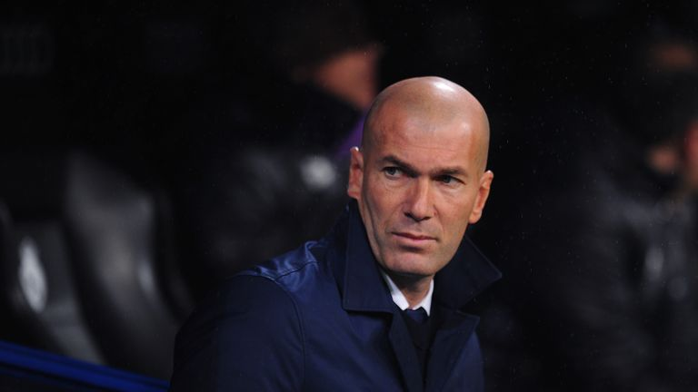 MADRID, SPAIN - JANUARY 29:  Real Madrid manager Zinedine Zidane looks on before the La Liga match between Real Madrid CF and Real Sociedad de Futbol at th