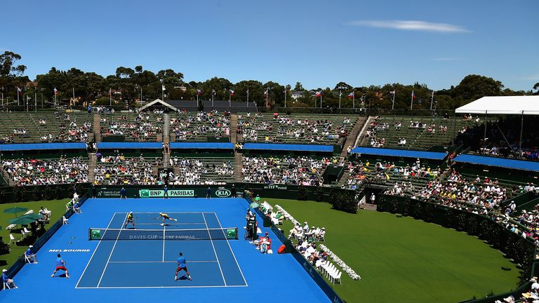 The scene at Kooyong in Melbourne where Australia eased past the Czech Republic who are yet to register a single set