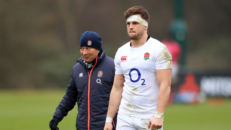 England head coach Eddie Jones with Jack Clifford during Thursday's training session at Pennyhill Park