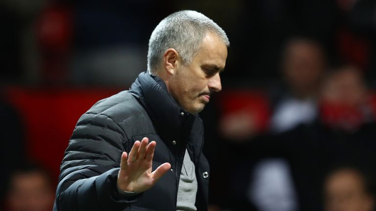 Jose Mourinho waves as he leaves the field after the Premier League match between Manchester United and Hull City