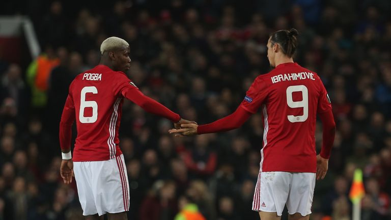 Paul Pogba and Zlatan Ibrahimovic during the UEFA Europa  League match between Manchester United and AS Saint-Etienne at Old Trafford on February 16, 2017
