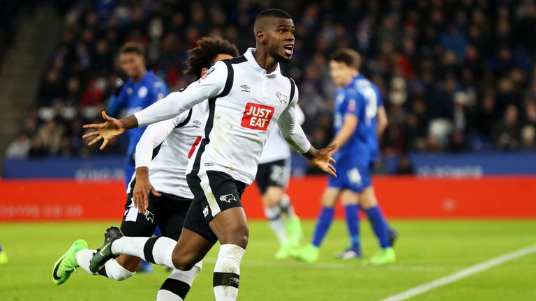 Abdoul Camara of Derby County celebrates after his free-kick was deflected in for his side's first goal v Leicester City, FA Cup fourth round replay