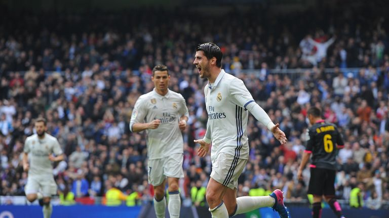 Real Madrid forward Alvaro Morata celebrates after scoring
