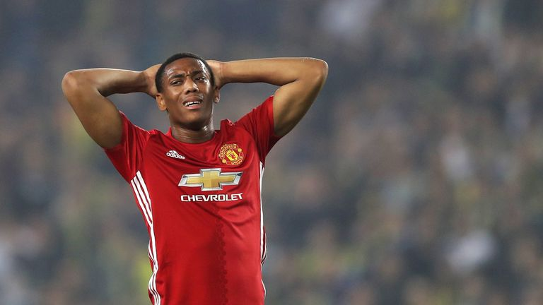 ISTANBUL, TURKEY - NOVEMBER 03:  Anthony Martial of Manchester United reacts during the UEFA Europa League Group A match between Fenerbahce SK and Manchest