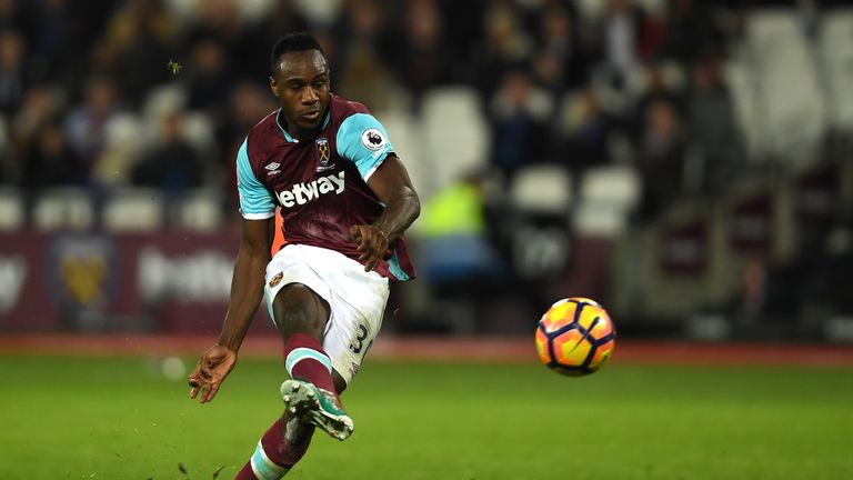 STRATFORD, ENGLAND - FEBRUARY 01: Michail Antonio of West Ham United scores a goal which is later dissalowed for offside during the Premier League match be