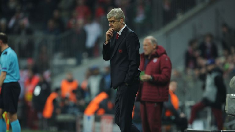 Arsene Wenger could only look on as his side were beaten 5-1 by Bayern Munich
